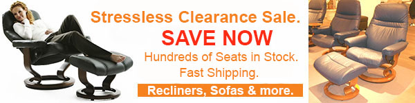 Showroom Special Stressless Recliner and Ottoman Sale