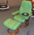 Stressless Diplomat Small Consul Recliner and Ottoman - Paloma Green Apple Leather by Ekornes