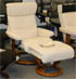 Stressless Memphis Medium Recliner and Ottoman - Classic Vanilla Leather by Ekornes