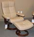 Stressless Oxford Medium Recliner and Ottoman in Paloma Sand Leather by Ekornes