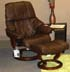 Stressless Reno Medium Recliner and Ottoman - Paloma Chocolate Leather by Ekornes