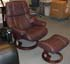 Stressless Reno Medium Recliner and Ottoman - Royalin Amarone Leather by Ekornes