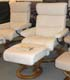 Stressless Savannah Large Recliner and Ottoman - Classic Vanilla Leather by Ekornes