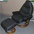 Stressless Voyager Paloma Black Leather Recliner Chair and Ottoman