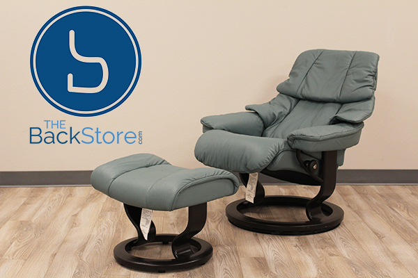 Stresslesss Tampa Small Reno Recliner and Ottoman in Paloma Aqua Green