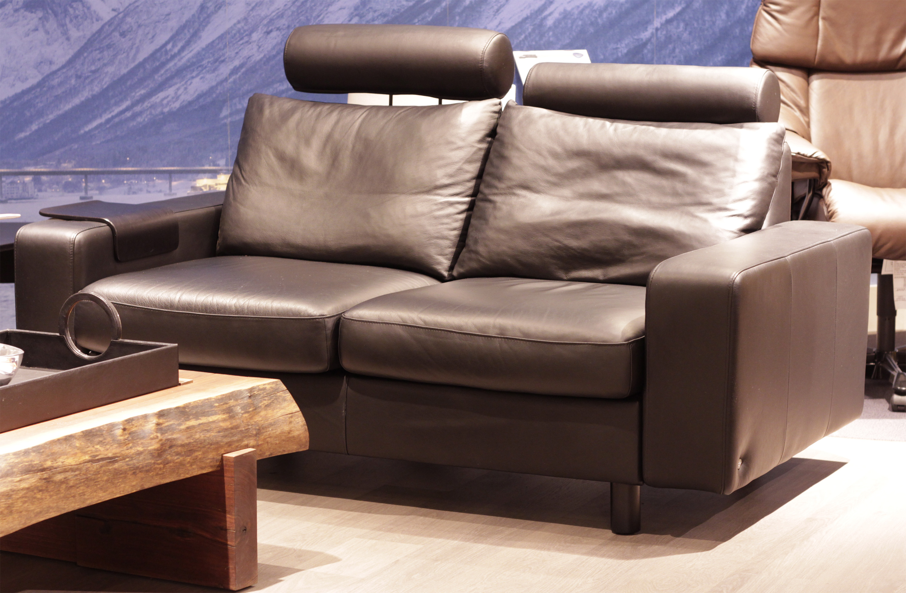 Stressless E200 Loveseat Sofa in Paloma Rock Leather by Ekornes ...