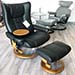 Stressless Wing Medium Recliner and  Ottoman - Paloma Black Leather