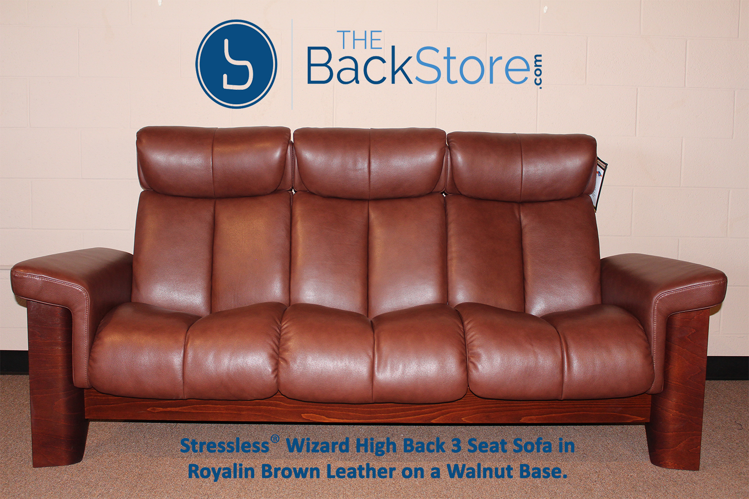 Stressless Wizard 3 Seat High Back Sofa Royalin Brown Color Leather  Recliner Sofa