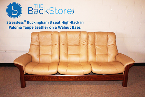 Stressless Buckingham High Back Sofa in Paloma Taupe Leather