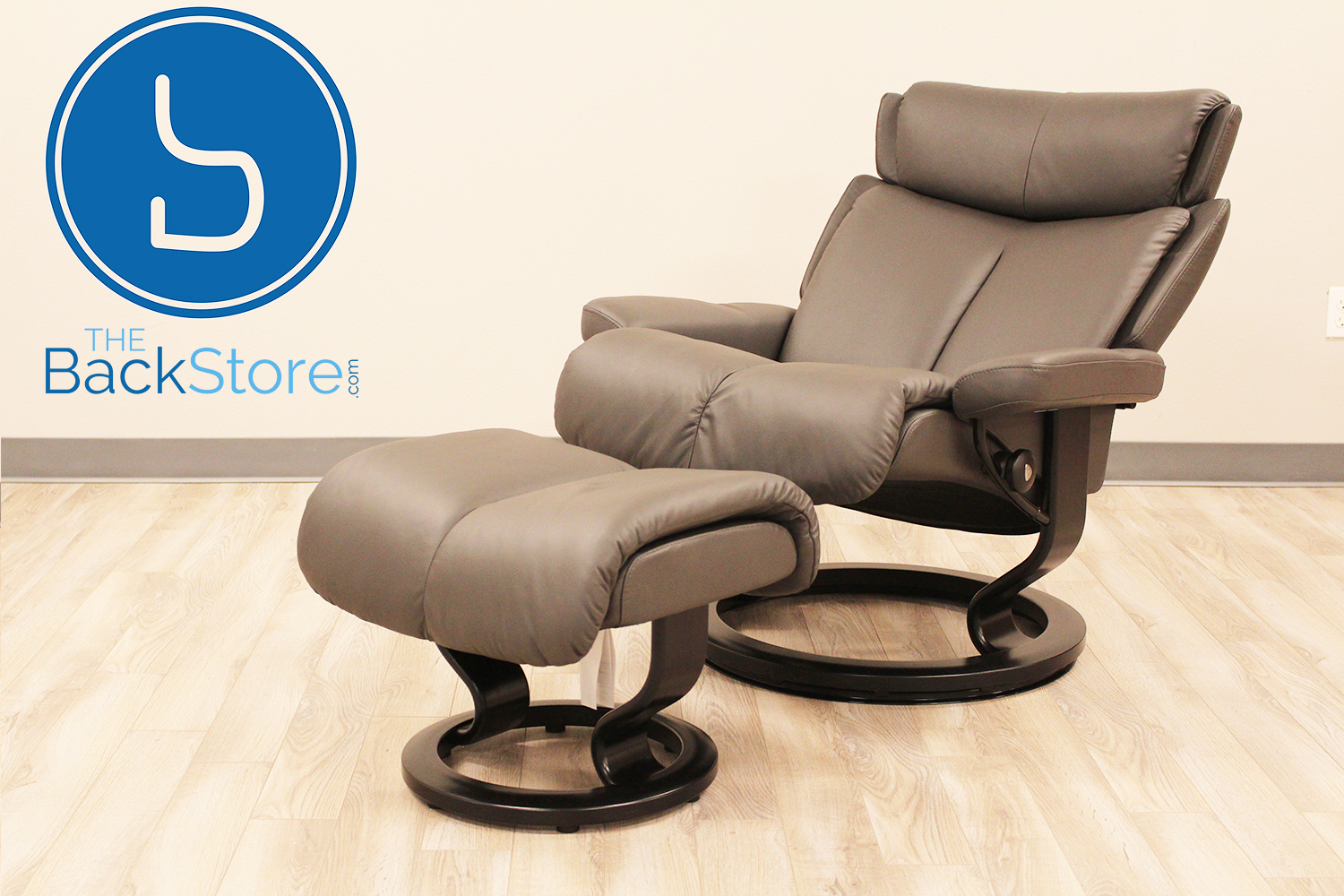 Stressless Magic Medium Paloma Rock Color Leather Recliner Chair and Ottoman & Stressless Magic Medium Paloma Rock Color Leather by Ekornes ... islam-shia.org
