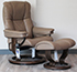 Stressless Mayfair Paloma Funghi Leather Recliner Chair and Ottoman