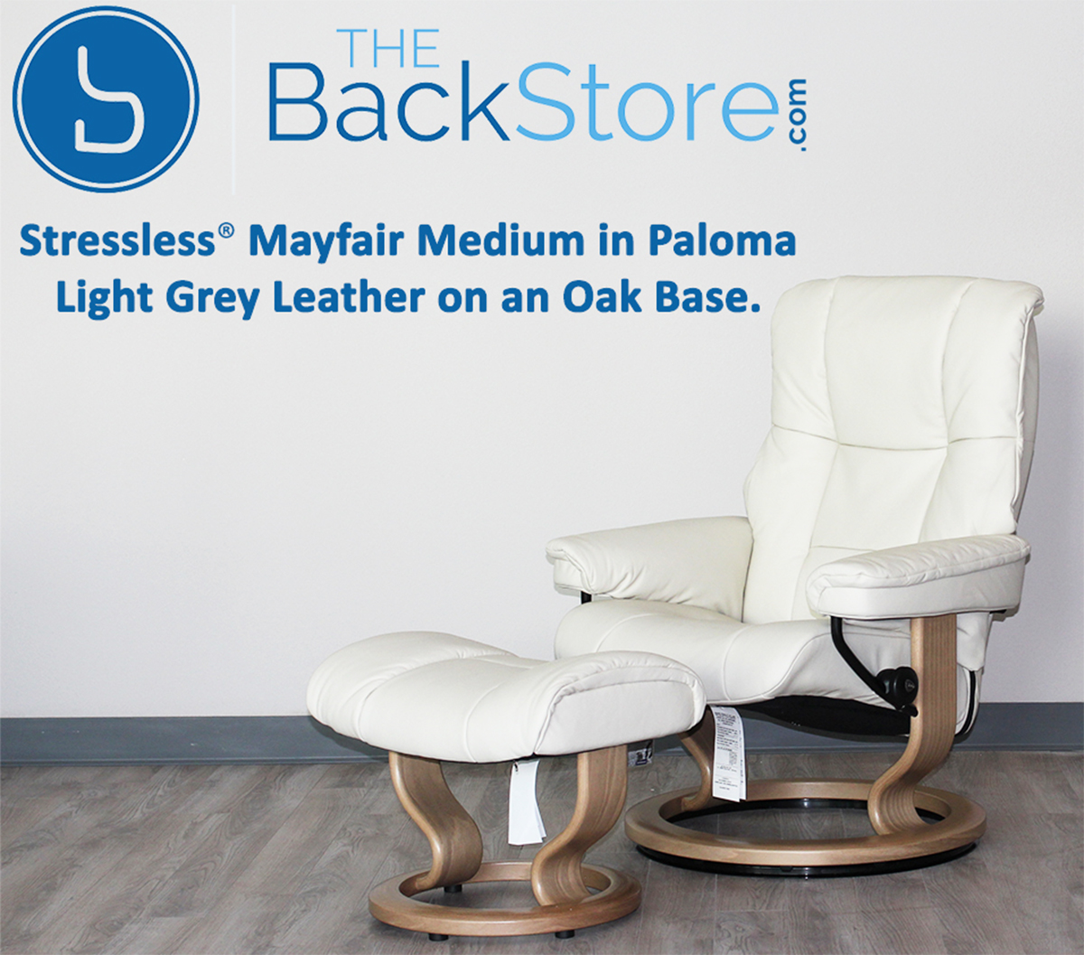 Stressless Mayfair Paloma Light Grey Leather Recliner Chair And Ottoman By  Ekornes