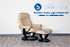 Stressless Sunrise Recliner and Ottoman in Paloma Leather by Ekornes