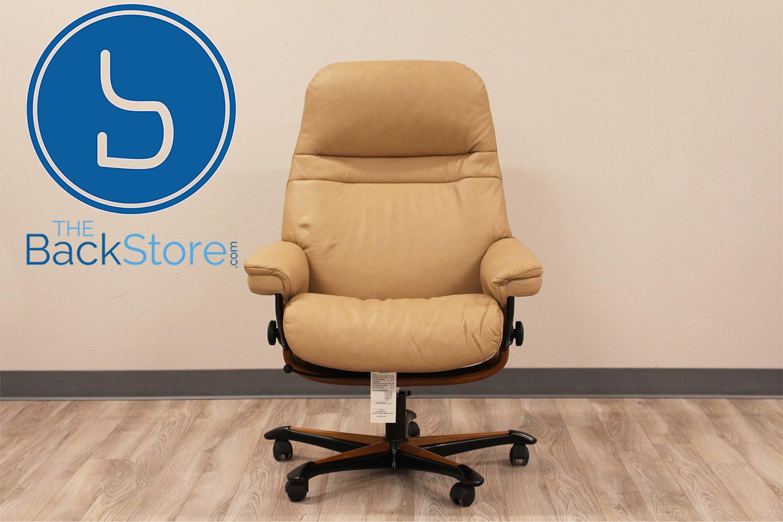 stressless sunrise office desk chair paloma sand leather