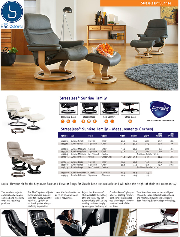Stressless Sunrise Family Recliner Chair and Ottoman