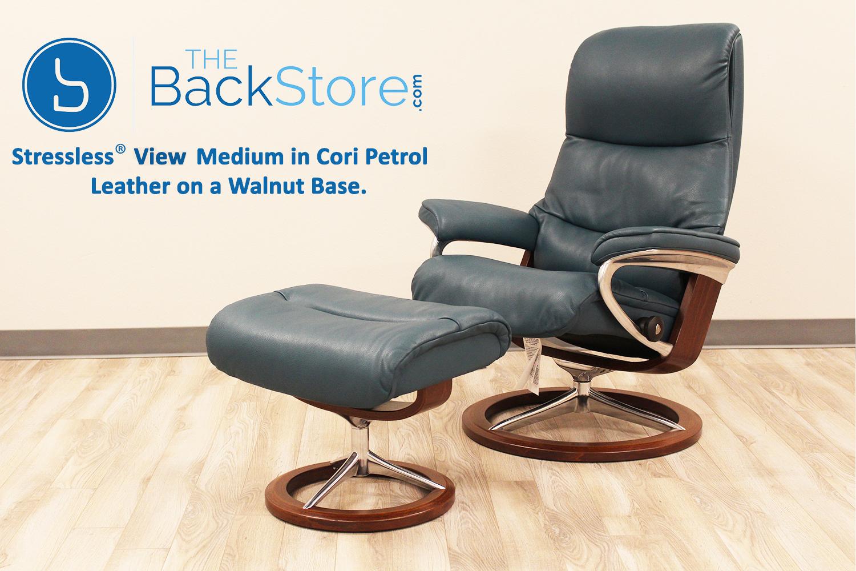 stressless view signature base medium cori petrol recliner chair by ekornes