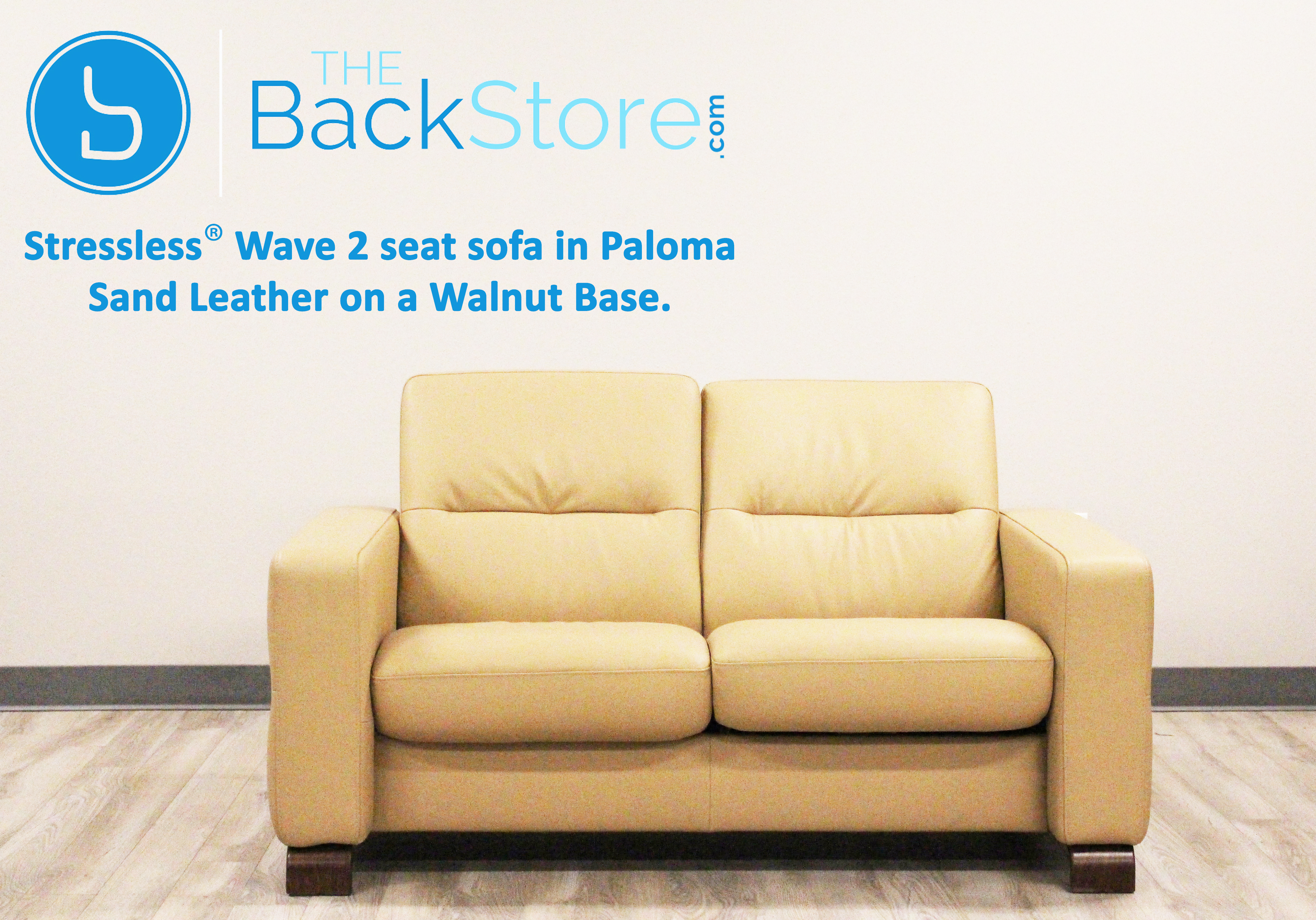 Stressless Wave Loveseat Sofa In Paloma Sand Leather