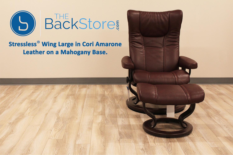 Stressless Wing Medium Cori Amarone Leather Recliner Chair By Ekornes