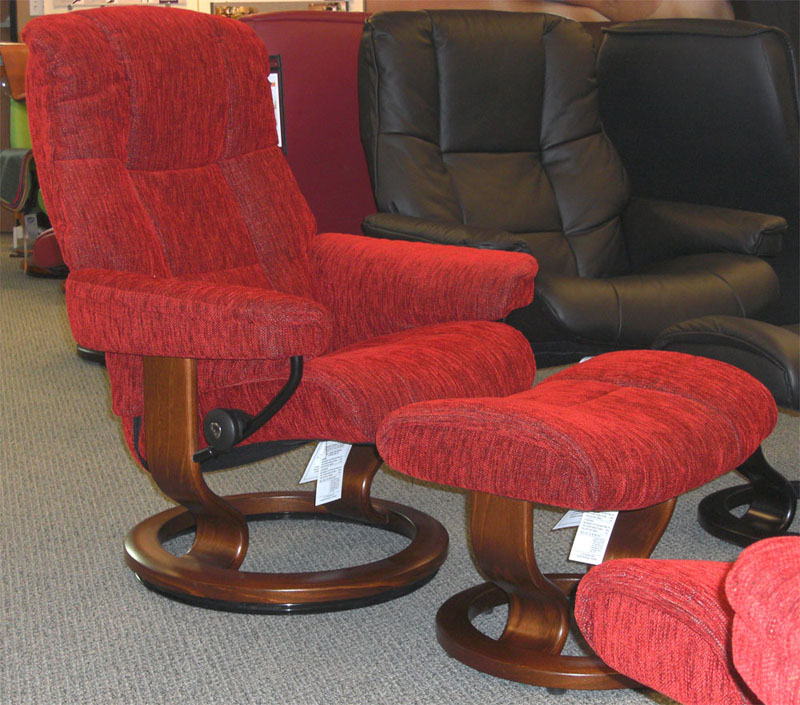 stressless chelsea red fabric recliner chair and ottoman by ekornes - Stressless Chair