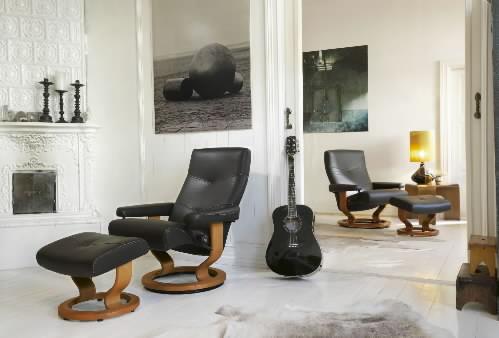 stressless alpha black paloma leather recliner chair by ekornes alpha ergonomic recliner - Stressless Chair