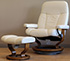 Stressless Ambassador Large Consul Batick Cream Leather Recliner Chair and Ottoman