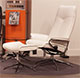 Stressless City High Back Snow White Leather Recliner and Ottoman in Paloma Leather by Ekornes