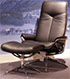 Stressless City High Back Paloma Black Leather Recliner and Ottoman in Paloma Leather by Ekornes