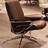 Stressless City Low Back Paloma Chocolate Leather Recliner and Ottoman in Paloma Leather by Ekornes