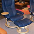 Stressless Eagle Paloma Oxford Blue Leather Recliner and  Ottoman