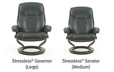 Stressless Governor amd Senator Paloma Black Leather Recliner and Ottoman
