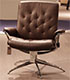 Stressless Metro Low Back Paloma Chocolate Leather Recliner and Ottoman in Paloma Leather by Ekornes