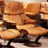 Stressless Reno Royalin TigerEye Leather Recliner Chair and Ottoman