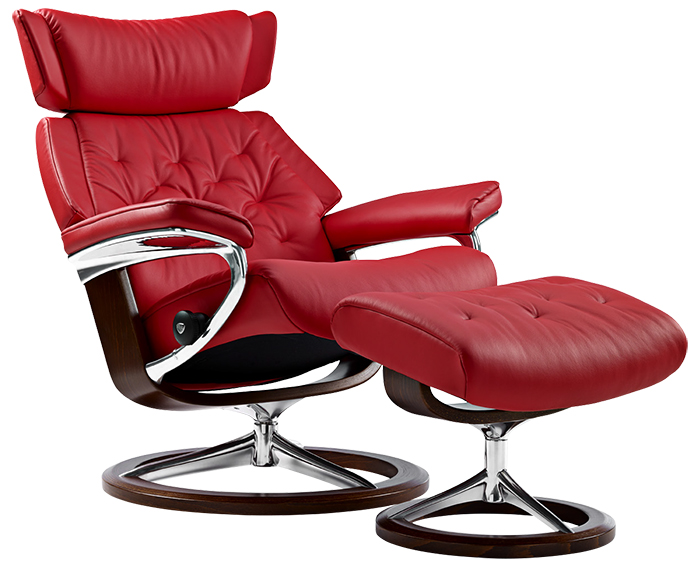 Stressless Paloma Tomato Red Leather Recliner and Ottoman