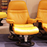 Stressless Sunrise Small Paloma Clementine Leather Recliner and Ottoman in Paloma Leather by Ekornes