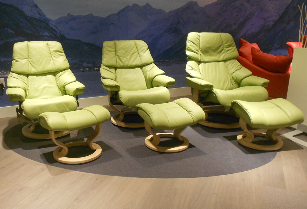 Stressless Vegas Paloma Green Leather Color Recliner Chair And Ottoman From  Ekornes