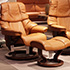 Stressless Tampa Small Reno Royalin TigerEye Leather Recliner Chair and Ottoman
