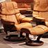 Stressless Tampa Small Reno Royalin TigerEye Leather Recliner Chair and Ottoman