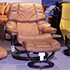 Stressless Vegas Large Reno Recliner Chair and Ottoman in Royalin TigerEye Leather