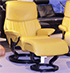 Stressless Vision Classic Mustard Leather Recliner and Ottoman