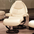 Stressless Voyager Medium Paloma Light Grey Leather Recliner Chair and Ottoman