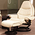 Stressless Voyager Large Paloma Light Grey Leather Recliner Chair and Ottoman
