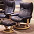 Stressless Wing Paloma Oxford Blue Leather Recliner and  Ottoman