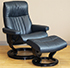 Stressless Crown Large Cori Blue Leather Recliner Chair and Ottoman