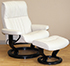Stressless Crown Large Cori Vanilla White Leather Recliner Chair and Ottoman