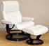 Stressless Crown Medium Cori Vanilla White Leather Recliner Chair