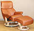 Stressless Dream Royalin TigerEye Leather Recliner Chair and Ottoman
