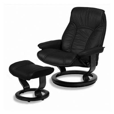 Stresssless Governor Recliner and Ottoman in Paloma Black Leather