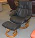 Stressless Tampa Small Reno Paloma Black Leather Recliner Chair and Ottoman