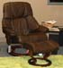 Stressless Tampa Small Reno Paloma Chocolate Leather Recliner Chair and Ottoman