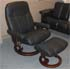 Stressless Ambassador Large Consul Batick Black Leather Recliner Chair and Ottoman